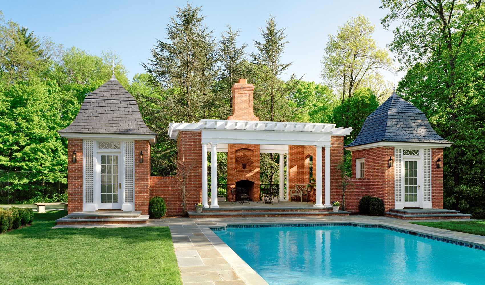 Classic Colonial Homes French Country Pool House 01 Douglas Vanderhorn Architects